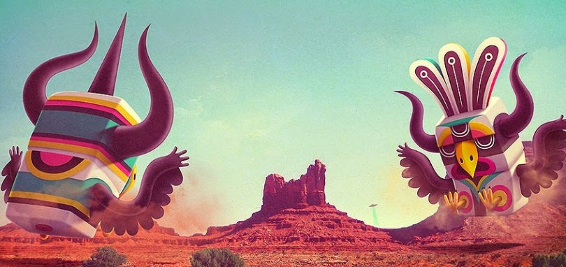Cartoon image of monsters in the desert