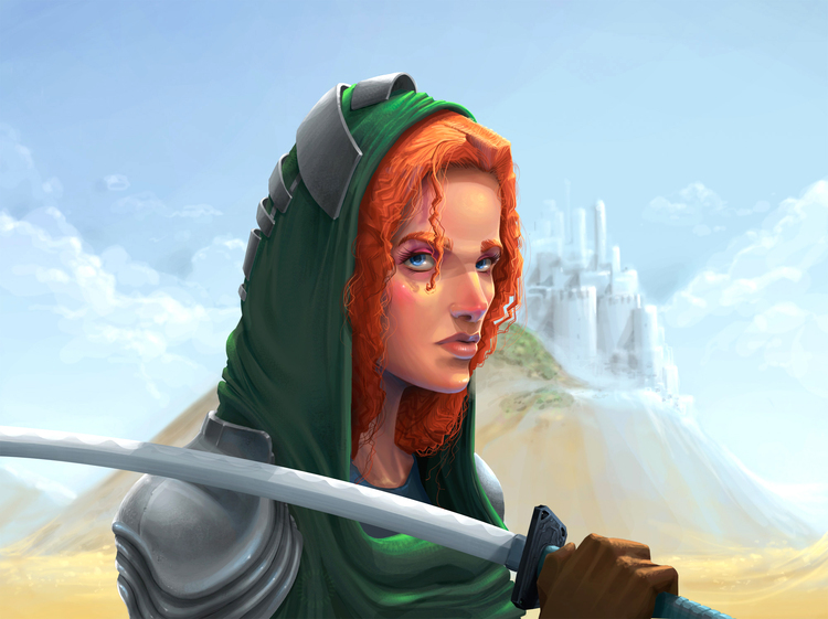 Cartoon image of a princess holding a sword
