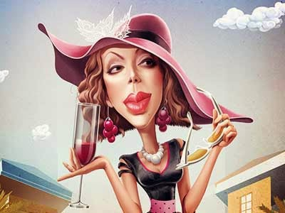Cartoon image of a woman drinking a glass of wine