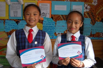 Tiare and Chelsea with Principal's Awards