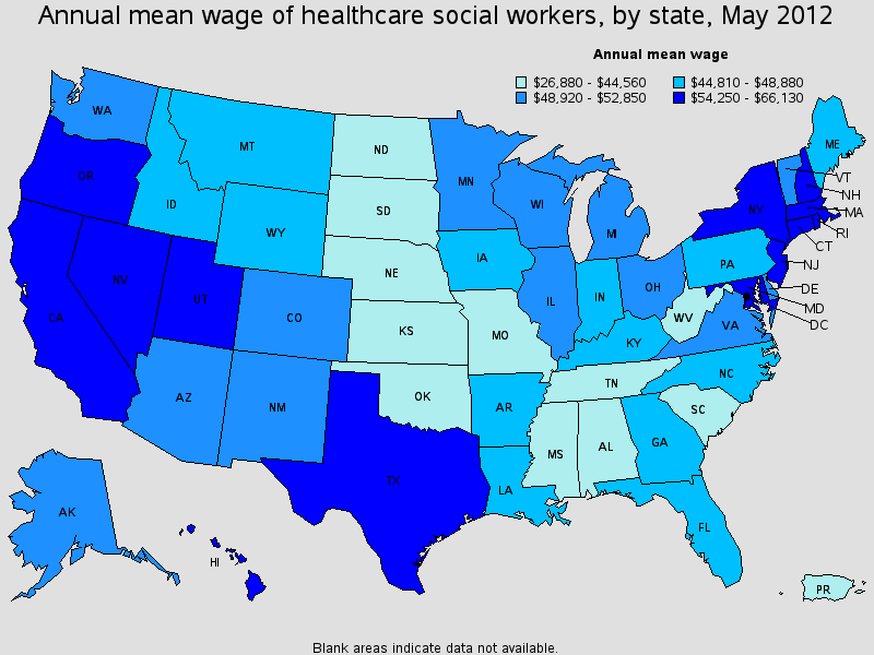 health care social worker salary state by state