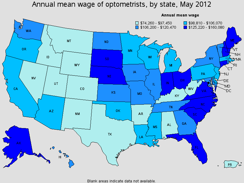 optometrist salary state by state