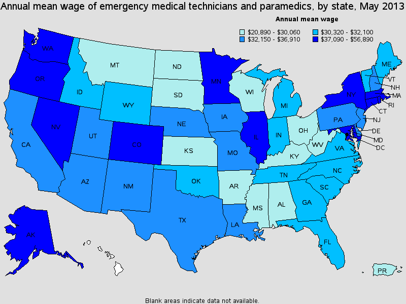 paramedic salary state by state 2013