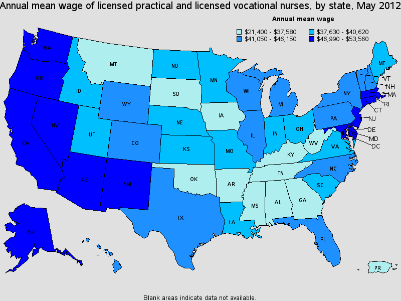 LVN salary state by state
