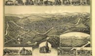 Historic Bird's eye view of Clarksburg WV Where Caroline Moore Jackson was a lifelong resident