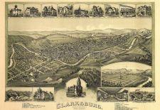 Historic Bird's eye view of Clarksburg WV
