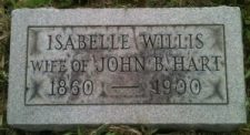 Foot stone of Isabelle Willis Hart