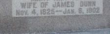 Mrs. James Dunn Headstone Inscription