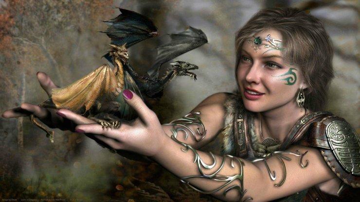 beautiful fantasy girl with dragon tattoos hd wallpaper