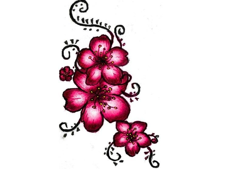 red cherry blossom tattoo wallpaper
