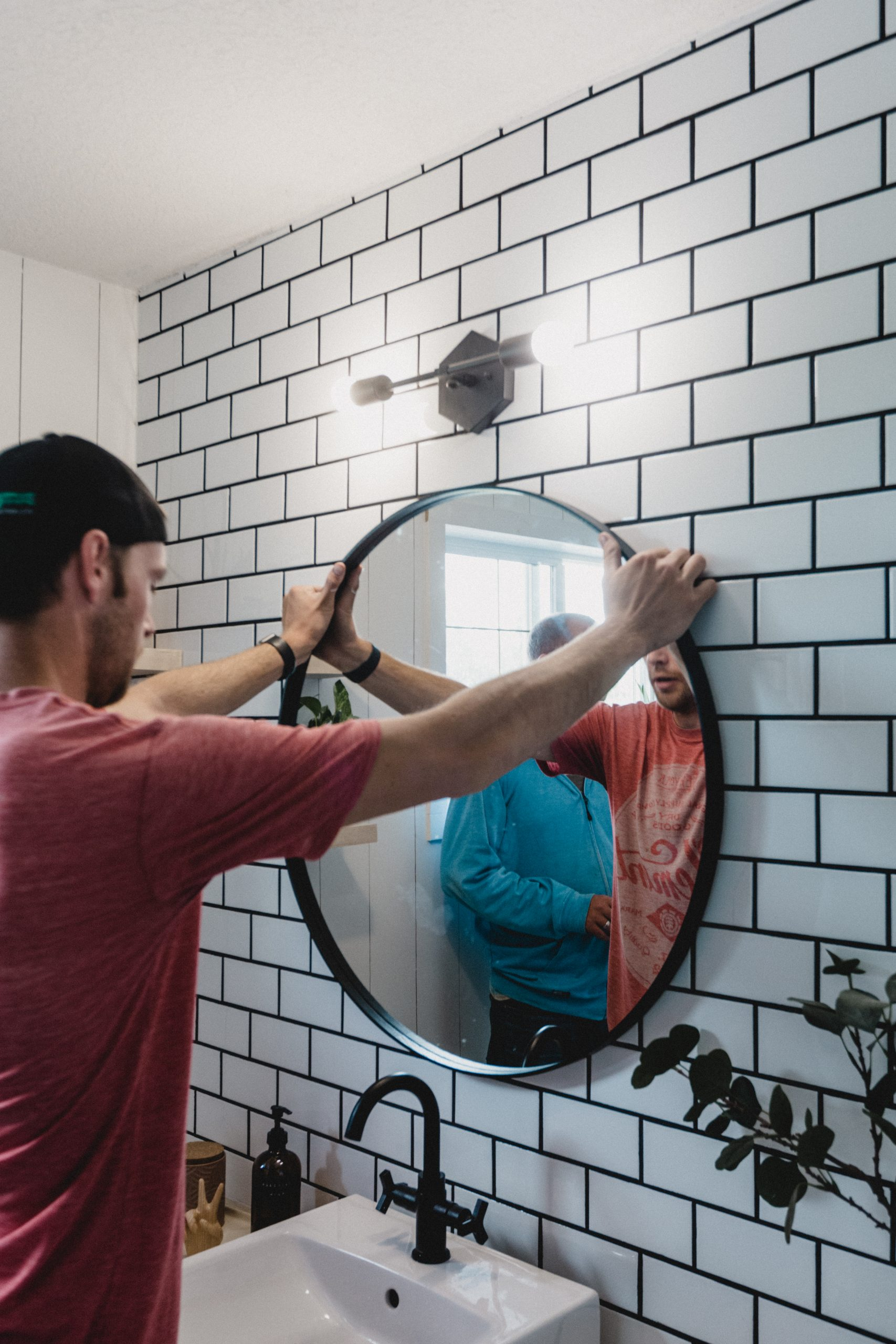 how to hang a mirror on tile or