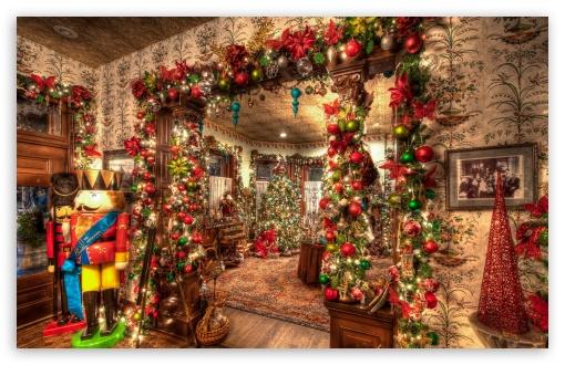Christmas House Decorations Inside 4K HD Desktop Wallpaper