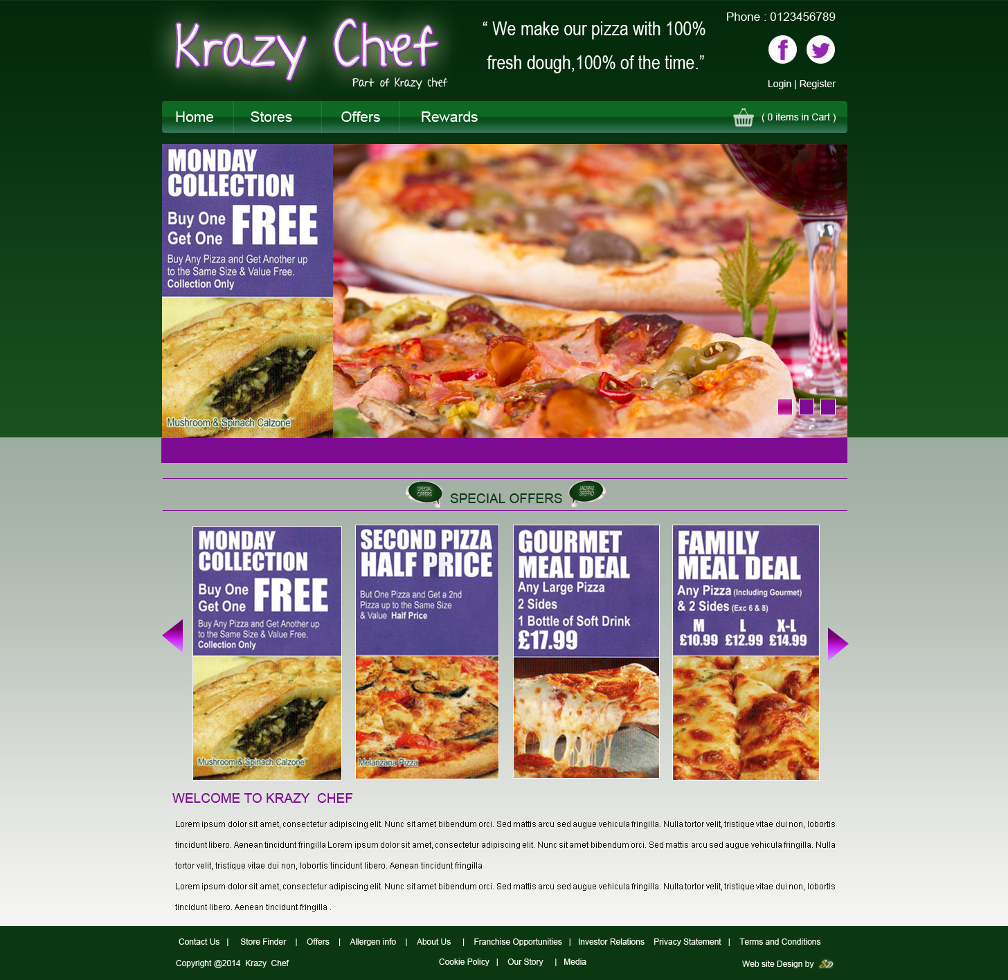 Krazy Chef, Takeaway Website, Takeaway Website Design, Fast Food Website, Fast Food Website Design