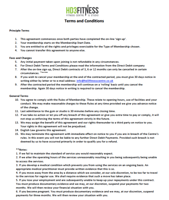 Terms & Conditions July 2016