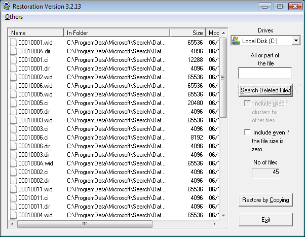 Restoration interface