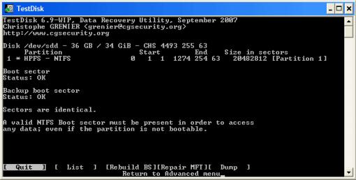 TestDisk interface