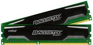Ballistix Sport 8GB Kit (4GBx2) DDR3 1600 MT/s