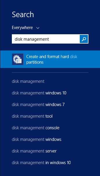 How to open disk management for drive partition data
