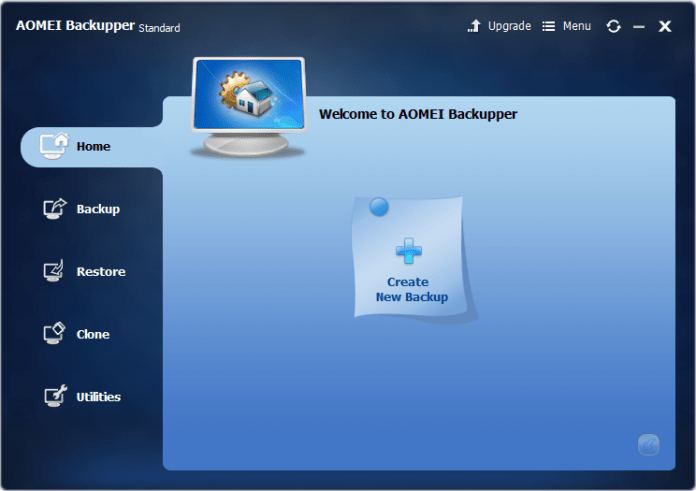 AOMEI Backupper free backup software review , interface home menu