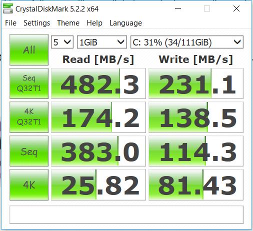 Kingston A400 120GB Crystal DiskMark