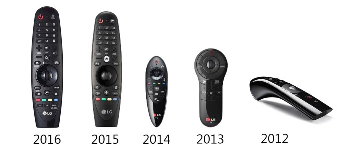LG Magic remotes over the years