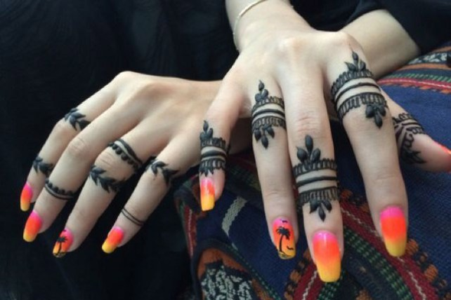 Beautiful-bands with henna mehndi on your finger