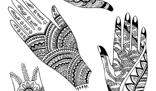 feet, front hand and backhand mehndi designs