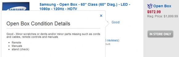 Best Buy Open Box Acessories UN60EH600