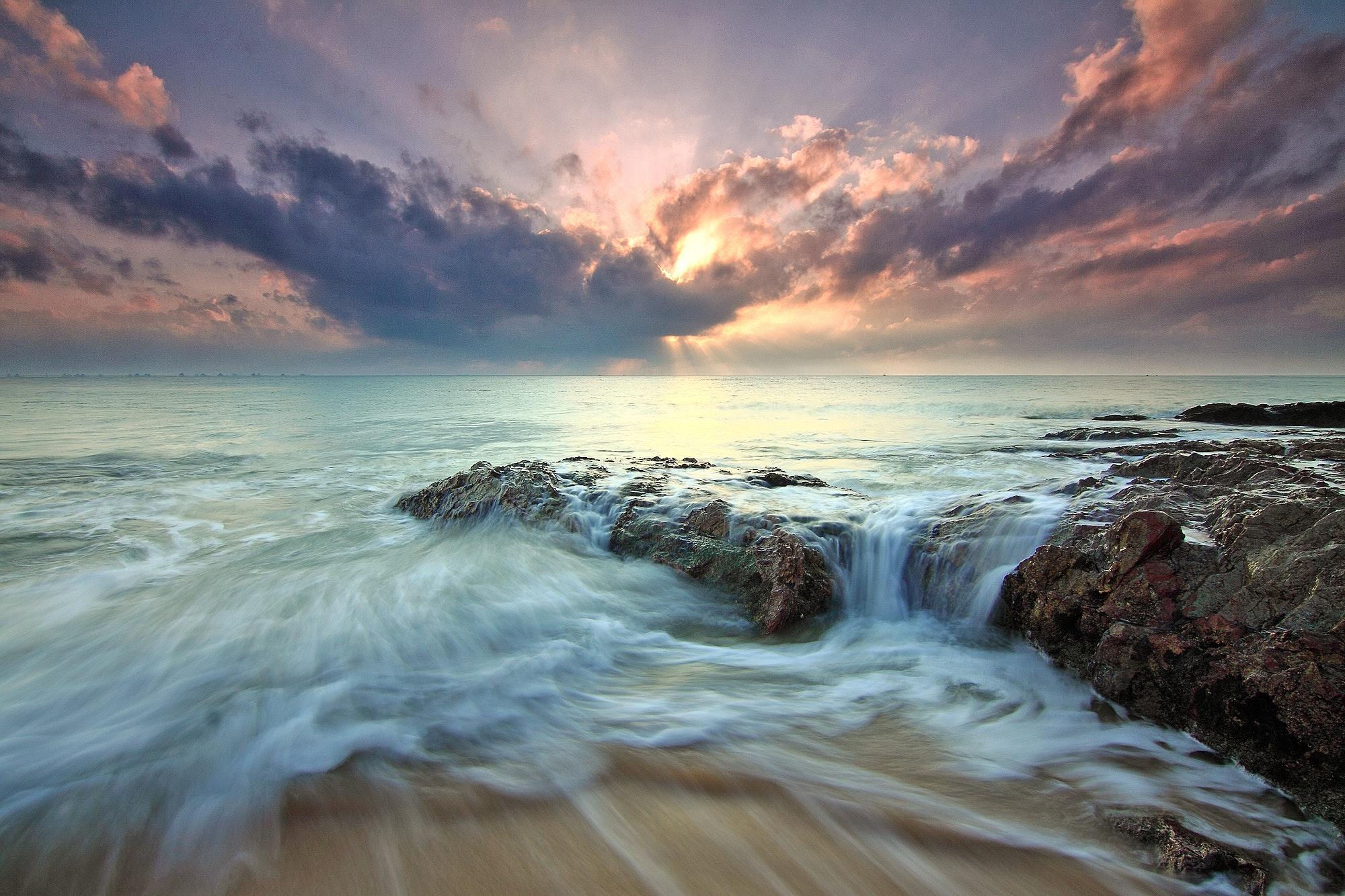 Beach Sea Dawn Dusk Landscape Ocean Rocks Sunlight Hd