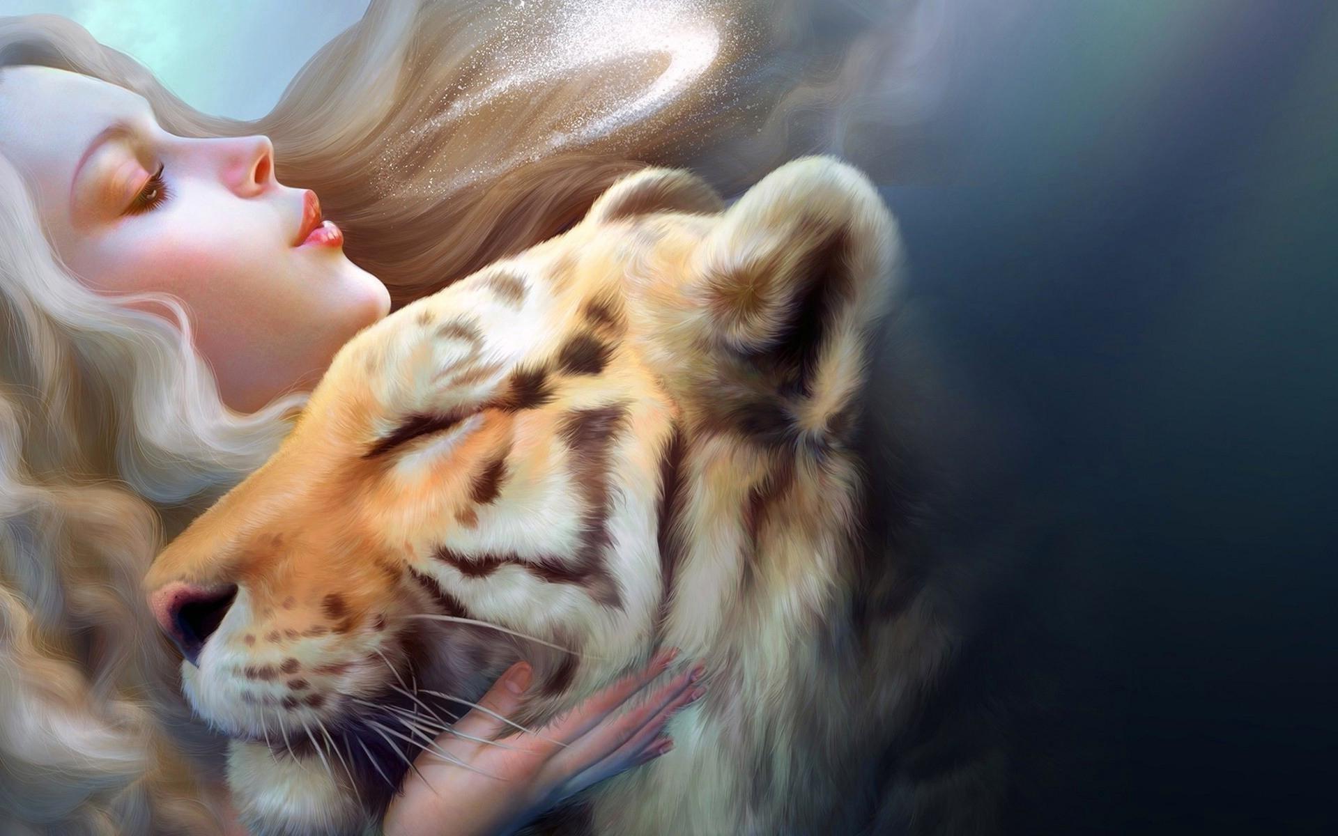 girl tiger art | artist hd 4k wallpapers