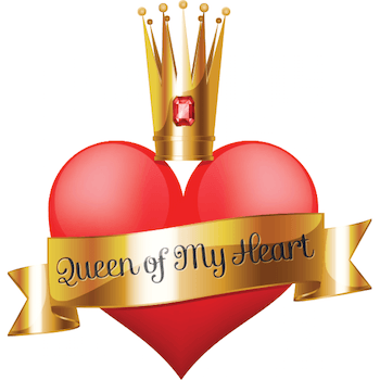 Emoticon with a heart crown in middle