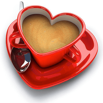 Coffee in a heart shaped cup