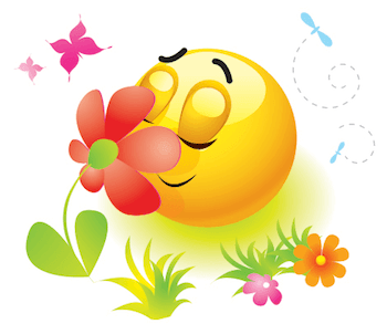 Emoticon happy to smell the beautiful flower