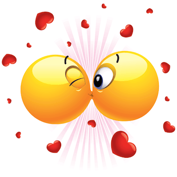 Emoticons smooching each other.