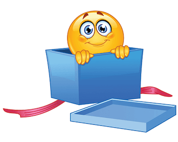 Emoticon peeping from a gift box