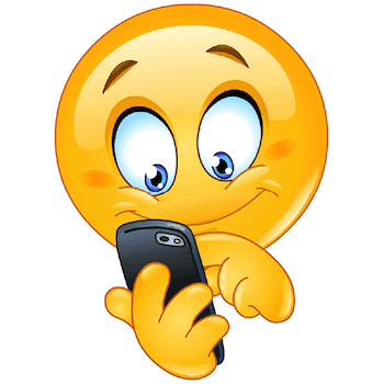 Emoticon playing and enjoying a game in its mobile phone