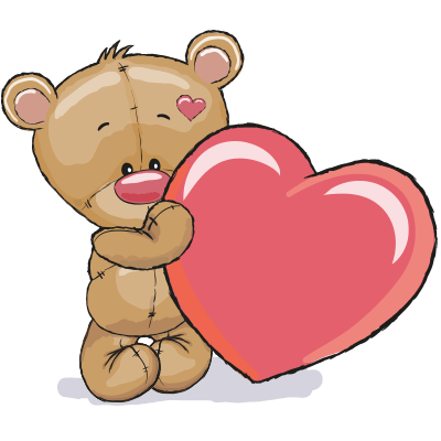 Teddy with its bright pink heart.