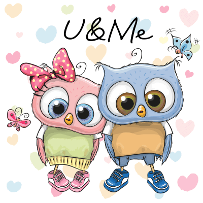 Blue and pink owl couple.