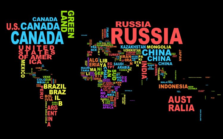 Countries Typography World Map Hd Wallpapers Desktop And Mobile Images Photos