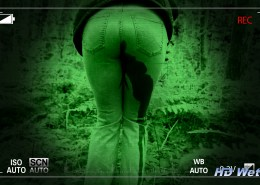 Alisha gets caughth peeing her pants in the forest on a night-vision camera.