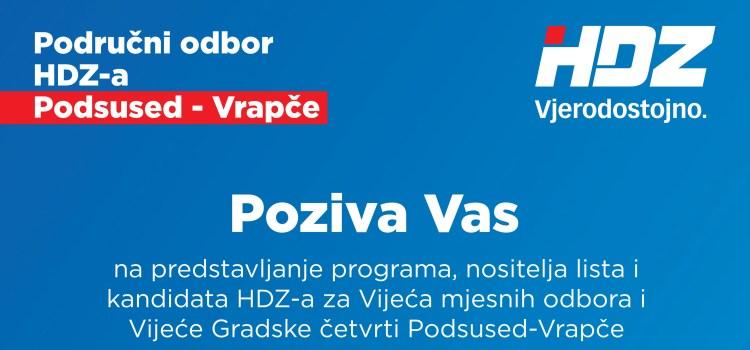 POZIV – Predstavljanje programa, nositelja lista i kandidata HDZ-a za VMO i VGČ