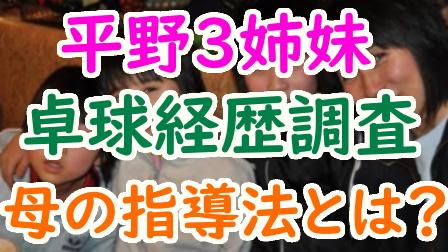 平野美宇3姉妹や両親の卓球経歴が凄すぎ!母の指導法や父の職業も調査