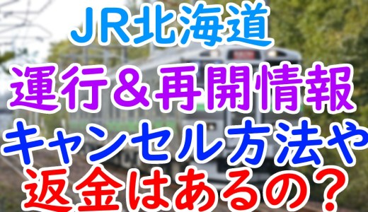 JR北海道の運行状況や再開見込みは?予約座席のキャンセル方法や返金はある?