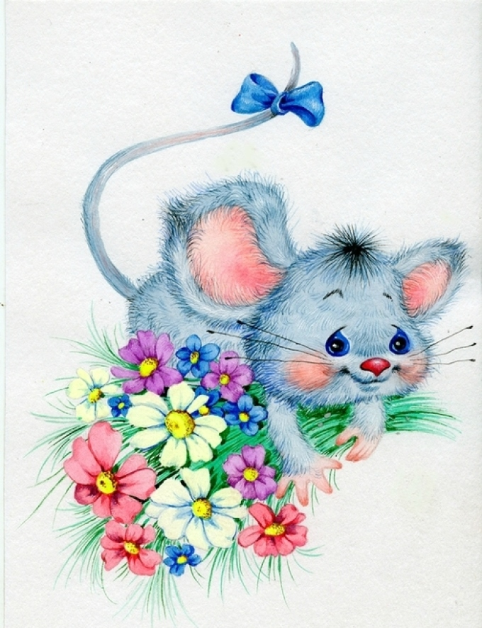 Открытка с днем рождения мышь, для учителя