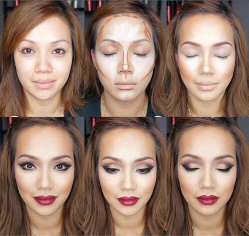 Step by step application of the bronzer and highlight for facial correction