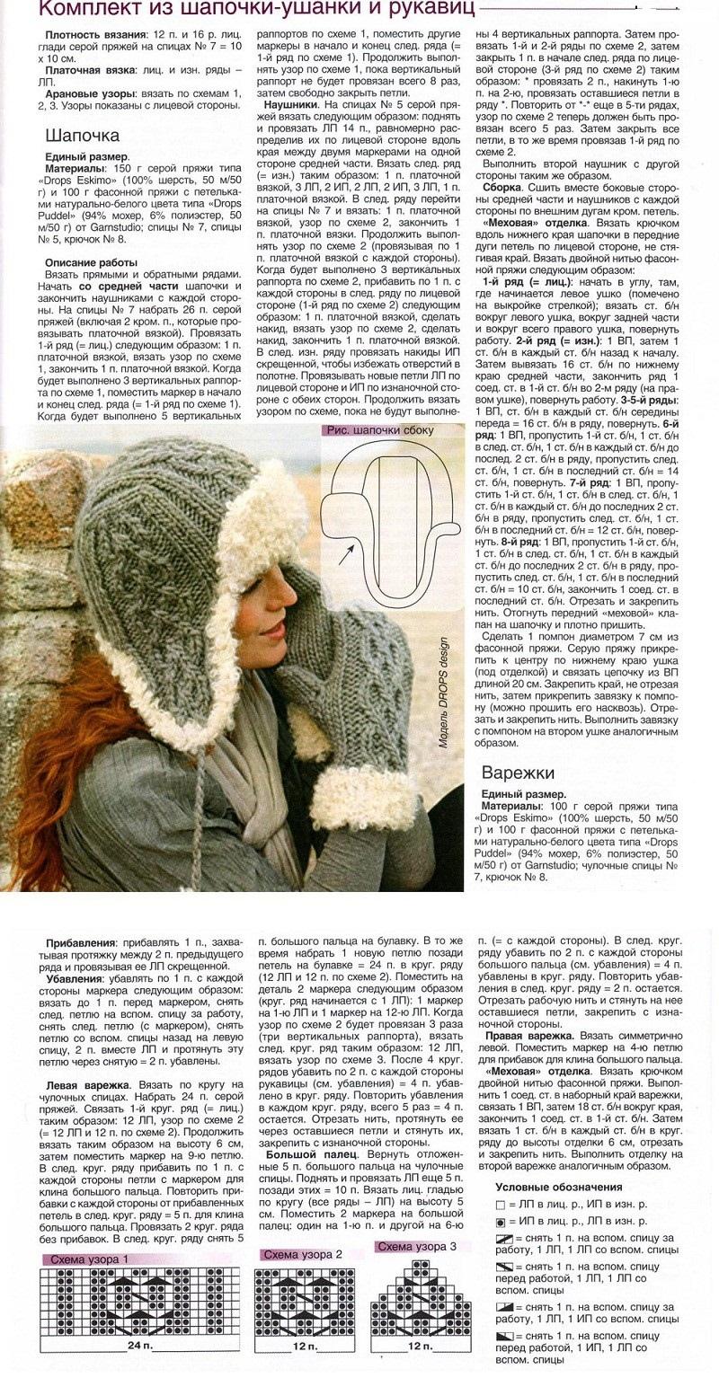 Descrição de tricô bonés e severo para meninas