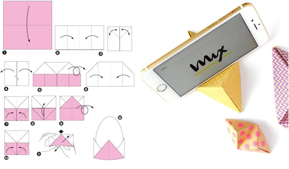 ขาตั้งกระดาษที่เรียบง่ายสำหรับโทรศัพท์: รูปแบบการพับ
