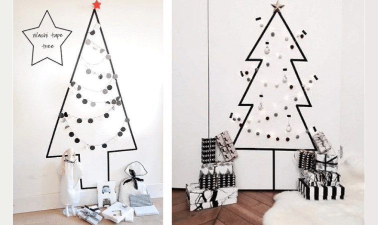 Рождестволық стикер-ағаш қабырғаға өз қолыңызбен