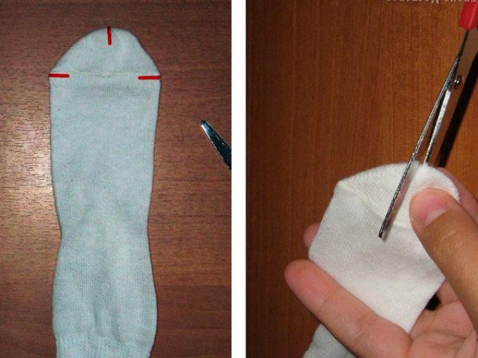 Схема изготовления наряда для барби из носка.