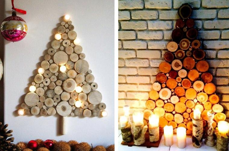 Árbol de navidad de madera en la pared con sus propias manos.